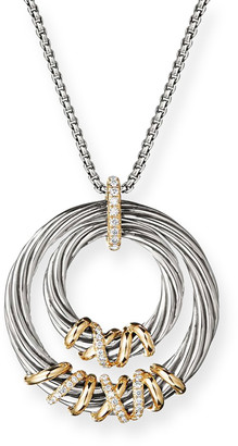 David Yurman Helena Diamond & Hoop Pendant Necklace