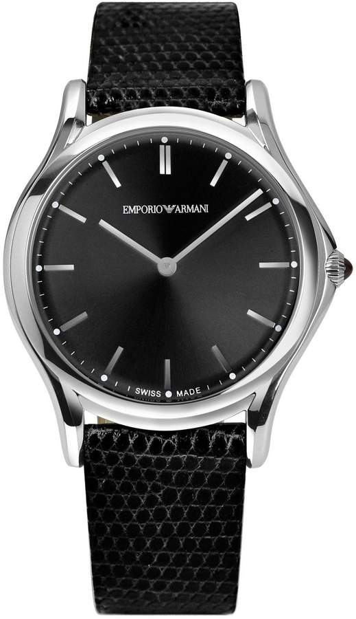 Emporio Armani Swiss Made Men's Swiss Quartz Stainless Steel and Leather Dress Watch, Color: (Model: ARS2001)