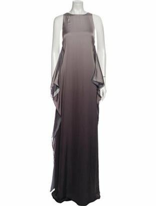 Halston Bateau Neckline Long Dress Grey