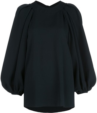 Oscar de la Renta Open-Back Balloon-Sleeved Blouse