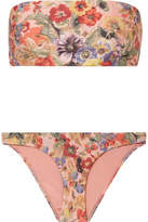 Zimmermann Lovelorn Floral-print Bandeau Bikini - Antique rose