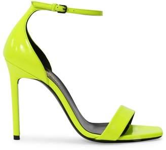 Saint Laurent Amber Ankle-Strap Neon Leather Sandals