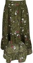 River Island Girls khaki floral asymmetric hem maxi skirt