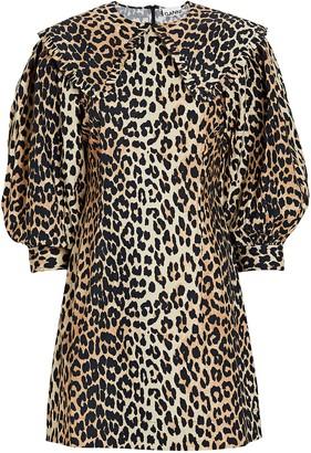 Ganni Leopard Cotton Poplin Mini Dress