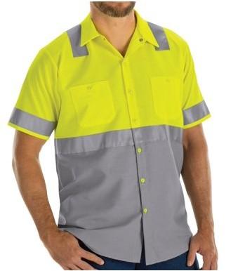 Red Kap Men's Short Sleeve Hi-Visibility Color Block Work Shirt Class 2 Level 2