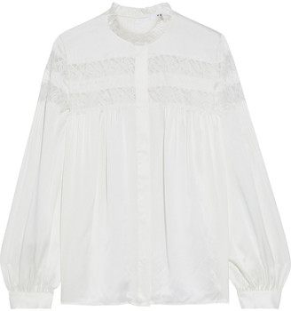 Frame Lace-trimmed Washed-silk Blouse