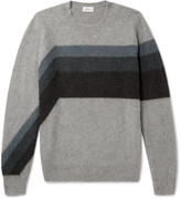 Brioni - Striped Cashmere And Camel Hair-blend Sweater