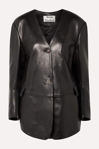 69a166eb2 Lexa Oversized Leather Jacket - Black