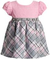 Youngland Baby Girl Plaid & Crochet Lace Dress