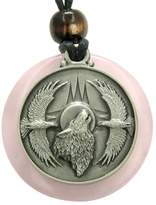 BestAmulets Amulet Howling Wolf Eagles Magic Medallion Circle Rose Quartz Pendant Necklace