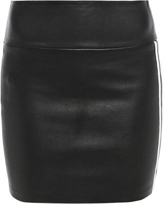 Sprwmn Striped Stretch-leather Mini Pencil Skirt