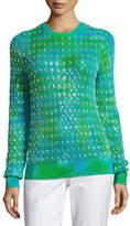 Michael Kors Tie-Dye Paillette Crewneck Sweater, Turquoise