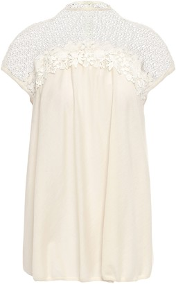 Giambattista Valli Floral-appliqued Guipure Lace-paneled Cashmere And Silk-blend Top