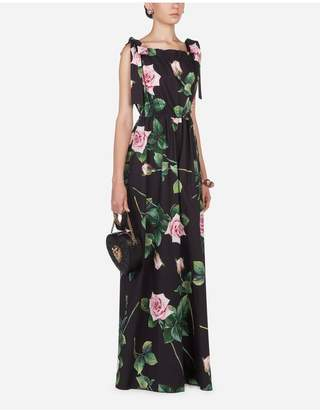 Dolce & Gabbana Tropical Rose Print Poplin Suit