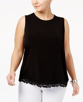 Kasper Plus Size Lace-Trim Top