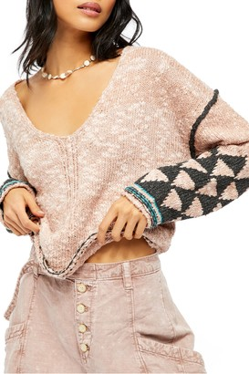 Free People Jackson V-Neck Geo Printed V-Neck Sweater