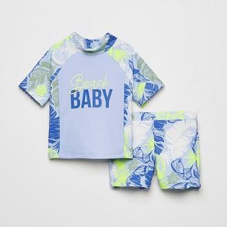 River Island Mini boys blue printed rash swim outfit