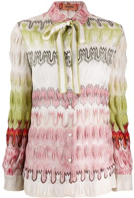 Missoni Knitted Tied-Necklace Shirt