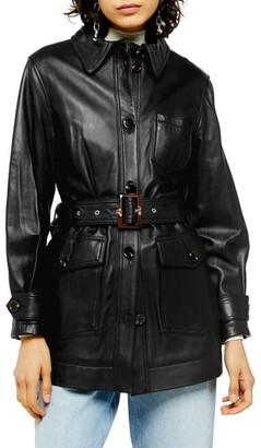 Topshop Casey Belted Leather Jacket