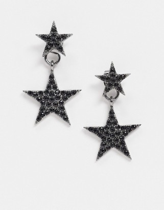 ASOS DESIGN front and back earrings in black crystal star design