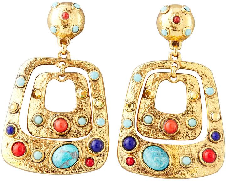 Jose & Maria Barrera Hammered Cabochon Clip Earrings