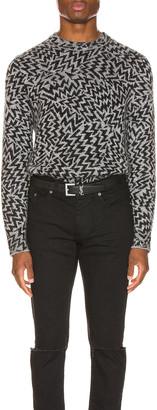 Saint Laurent Comics Jacquard Sweater in Grey | FWRD