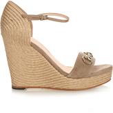 Gucci Carolina horsebit suede wedge sandals