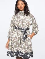 ELOQUII Mock Neck Button Front Dress