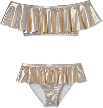 Stella Cove Girl's Metallic Ruffle Two-Piece Bikini Set, Size 4-14