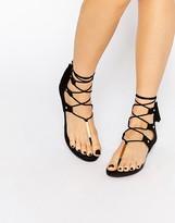 Aldo Jakki Black Gladiator Tassel Flat Sandals
