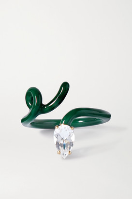 BEA BONGIASCA Baby Vine Tendril Gold, Silver, Enamel And Rock Crystal Ring - Green