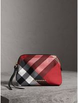 Burberry Medium Zip-top Check Technical Pouch, Red