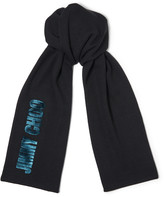 Jimmy Choo FABIA Teal Blended Wool Knit Scarf