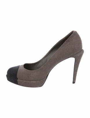 Chanel Glitter Platform Pumps Grey