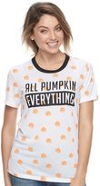 Mighty Fine Juniors' All Pumpkin Everything Ringer Tee