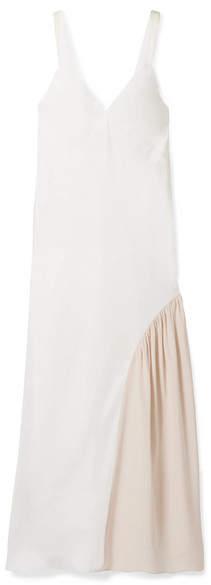 Tibi Two-tone Faille And Silk Midi Dress - Ivory