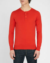 M.STUDIO Terence red cotton sweater with Tunisian style neck