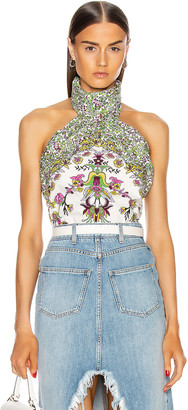 Givenchy Twisted Collar Nude Back Top in White Multi | FWRD