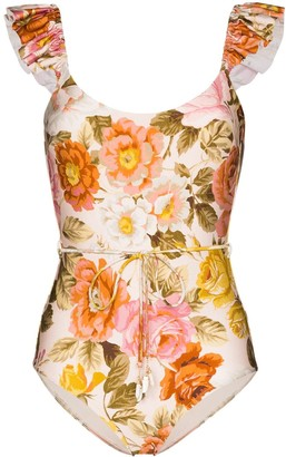 Zimmermann Ruffle-Trimmed Floral-Print Swimsuit