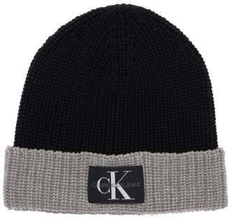 Calvin Klein Jeans Logo Patch Cotton Blend Knit Beanie Hat