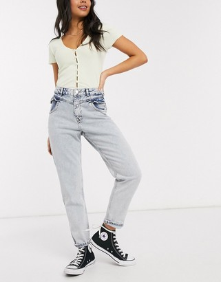 Miss Selfridge mom jeans with frill pocket in light wash