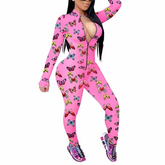 Generic Women's Sexy Long Sleeve Front Zipper Mock Neck Bodycon Jumpsuit One Piece Rompers Butterfly Print Overall Clothes (Pink L)