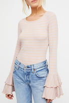 Free People Striped Bell-Sleeve Top