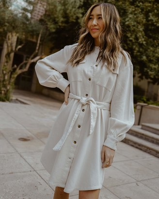 The Drop Women's Ivory Utility Tie-Waist Loose-Fit Shirt Dress by @spreadfashion XL
