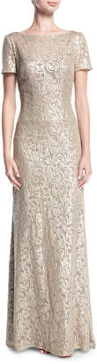 La Femme Boat-Neck Short-Sleeve Lace Embroidered Evening Gown