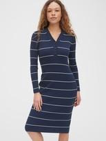 Gap V-Neck Ribbed Henley Midi Sweater Dress