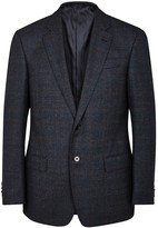 Giorgio Armani Navy Checked Wool Blazer