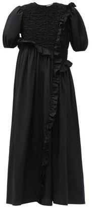 Cecilie Bahnsen Chloe Ruffled Cotton-blend Poplin Dress - Black