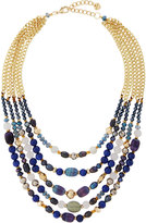 Nakamol Multi-Strand Agate Beaded Collar Necklace, Blue/Gray Mix