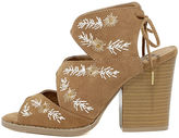Qupid Maja Camel Suede Embroidered High Heel Sandals